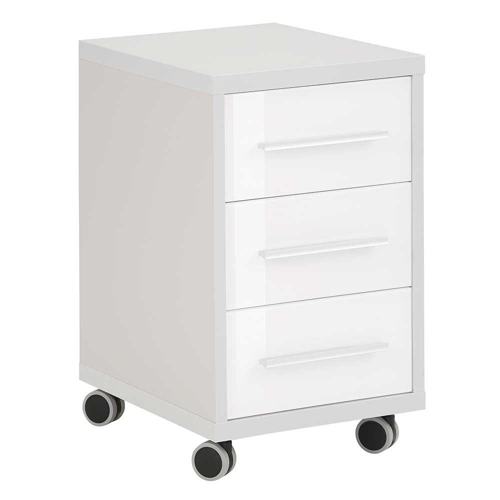 Rollcontainer in Grau und Weiß Glas beschichtet günstig online kaufen