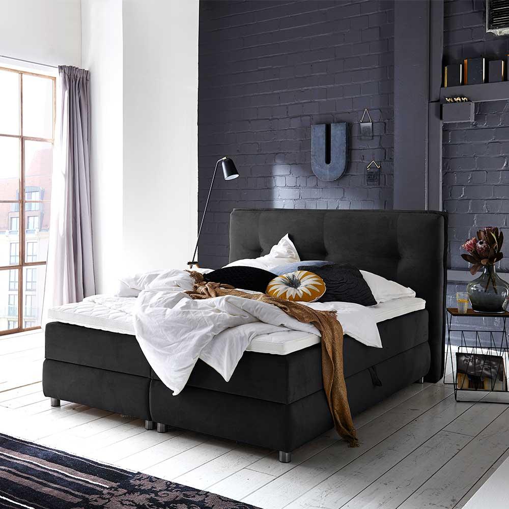 Springboxbett in Schwarz Webstoff Bettkasten günstig online kaufen