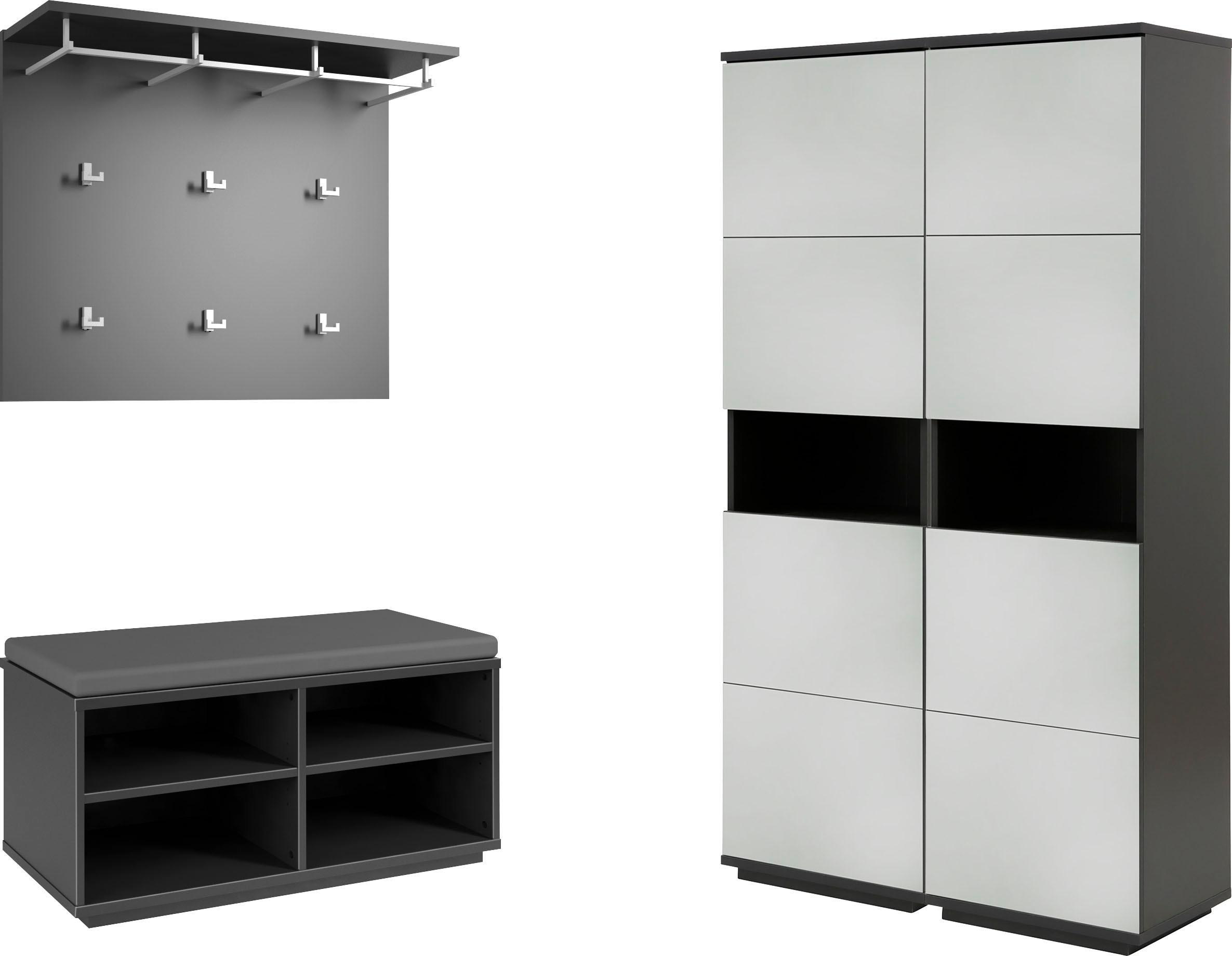 Garderoben-Set, weiß, Material Glas, Holzwerkstoff, Metall, Melamin »Alea«, günstig online kaufen