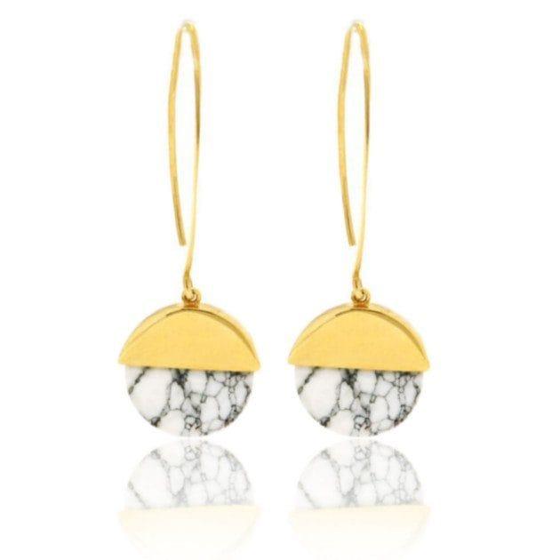 JULES & GENTS Paar Ohrhänger »Marble«, Halbkreis-Anhänger mit Howlith gelbv günstig online kaufen