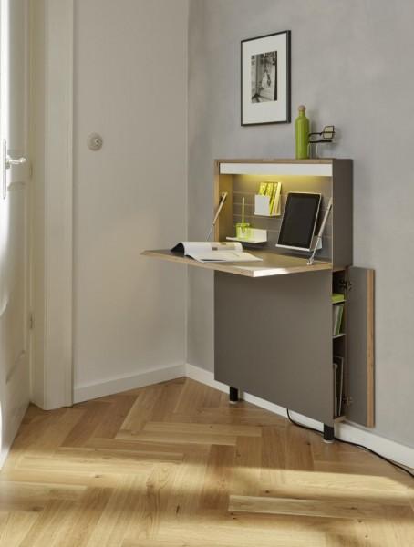 FLATMATE Sekretär, Anthrazit Birkenkante, LED mit Steckdose und USB-Dose günstig online kaufen