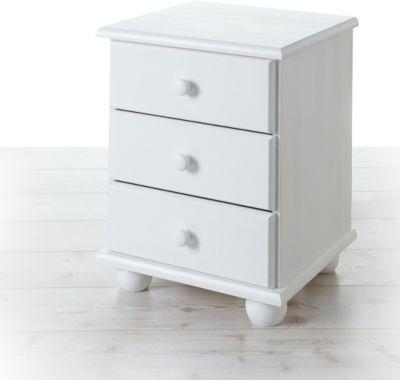 TICAA Nachtkommode Ivo Kiefer mit 3 Schubladen Weiß weiß günstig online kaufen