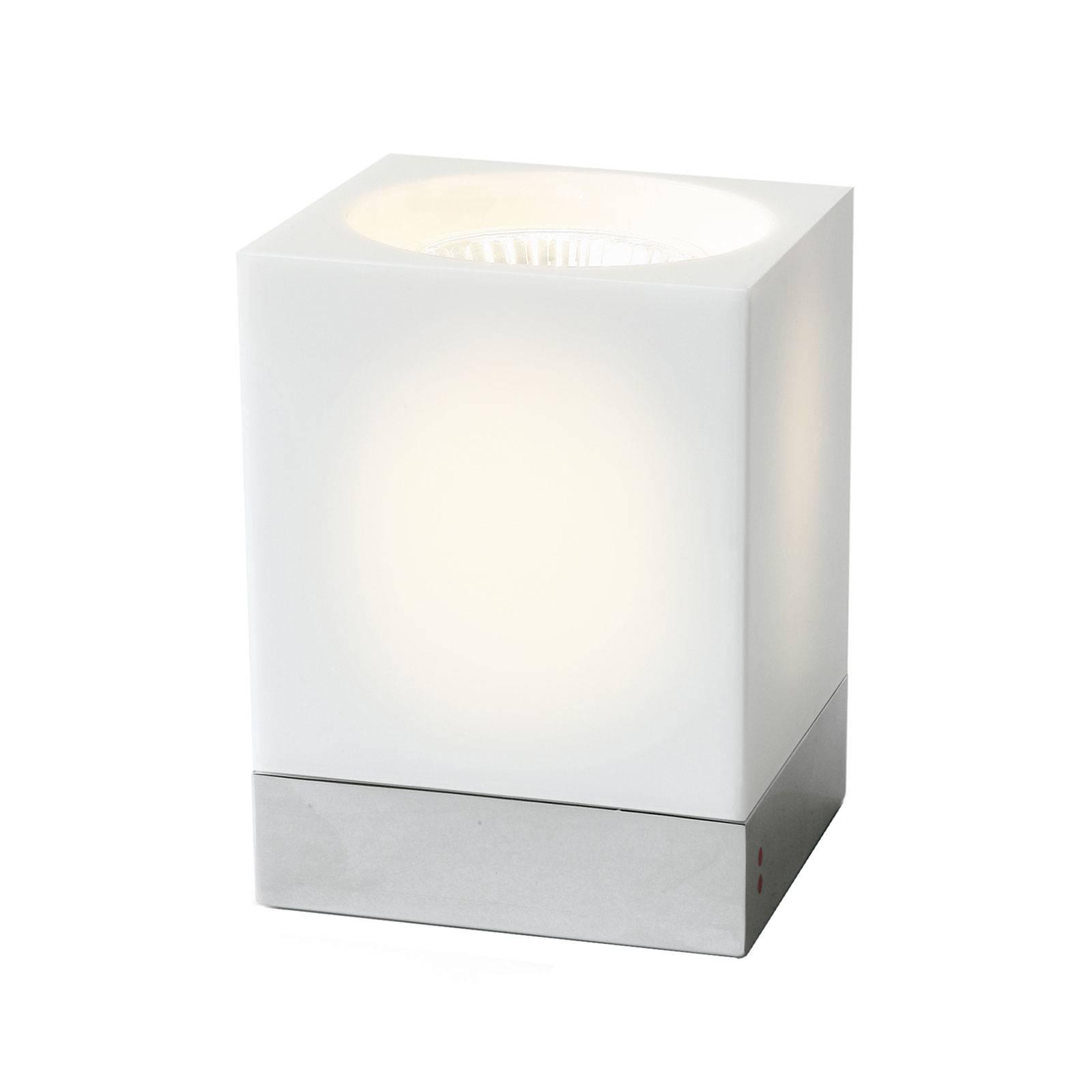 Fabbian Cubetto Tischleuchte GU10 chrom/weiß günstig online kaufen