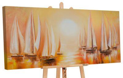 """YS-Art™ """"Gemälde Acryl """"""""Regatta II"""""""" handgemalt auf Leinwand 120x60 cm"""" br günstig online kaufen"""
