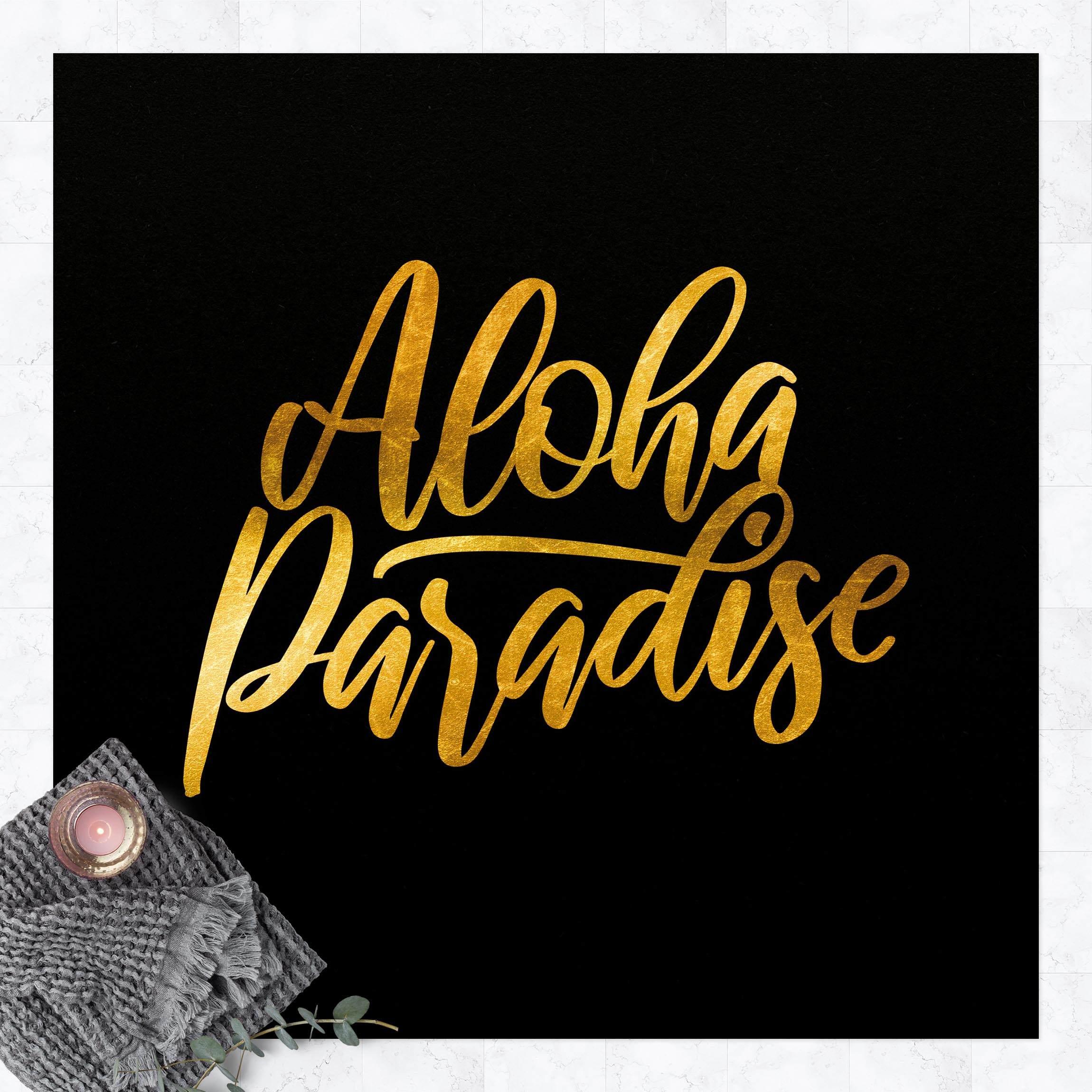 Vinyl-Teppich Gold - Aloha Paradise auf Schwarz günstig online kaufen