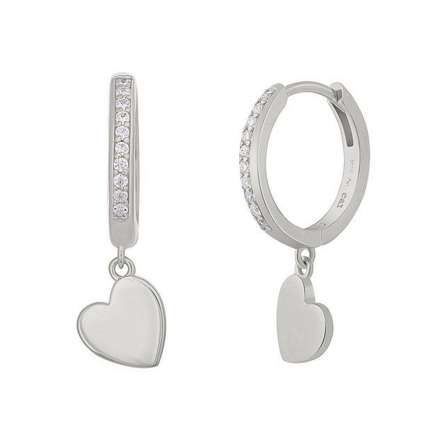 CAÏ Klappcreolen »925 Silber rhodiniert Herz Zirkonia«, Glänzend günstig online kaufen