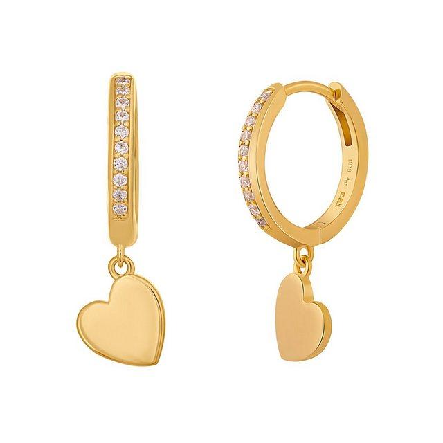 CAÏ Klappcreolen »925 Silber vergoldet Herz Zirkonia«, Glänzend günstig online kaufen