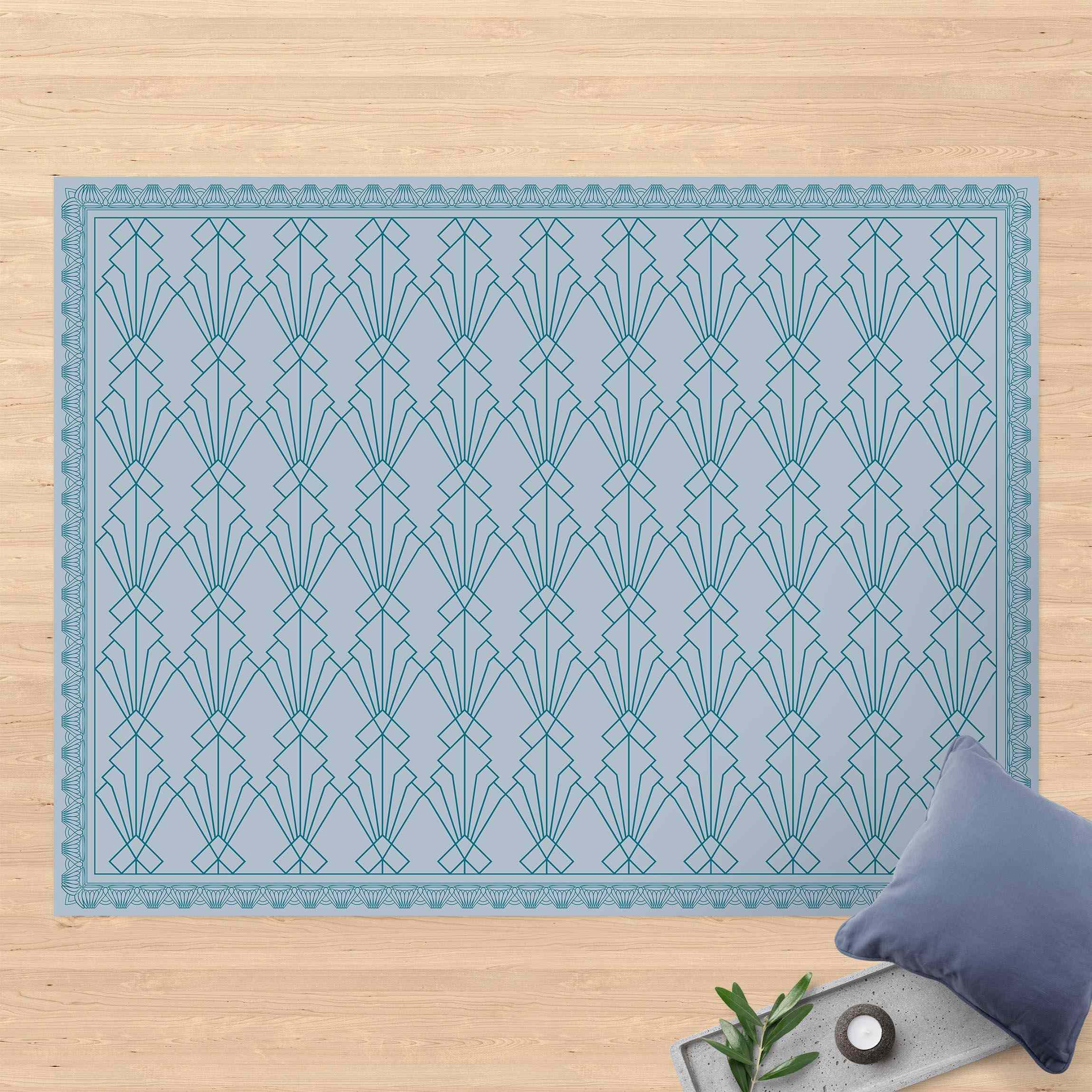Vinyl-Teppich Art Deco Fächer Muster mit Bordüre günstig online kaufen