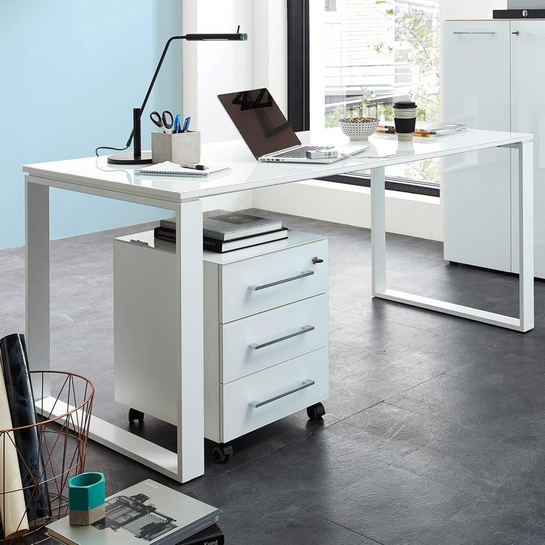 Büro Schreibtisch & Container Set in weiß MONTERO-01mit Glasfronten und Auf günstig online kaufen