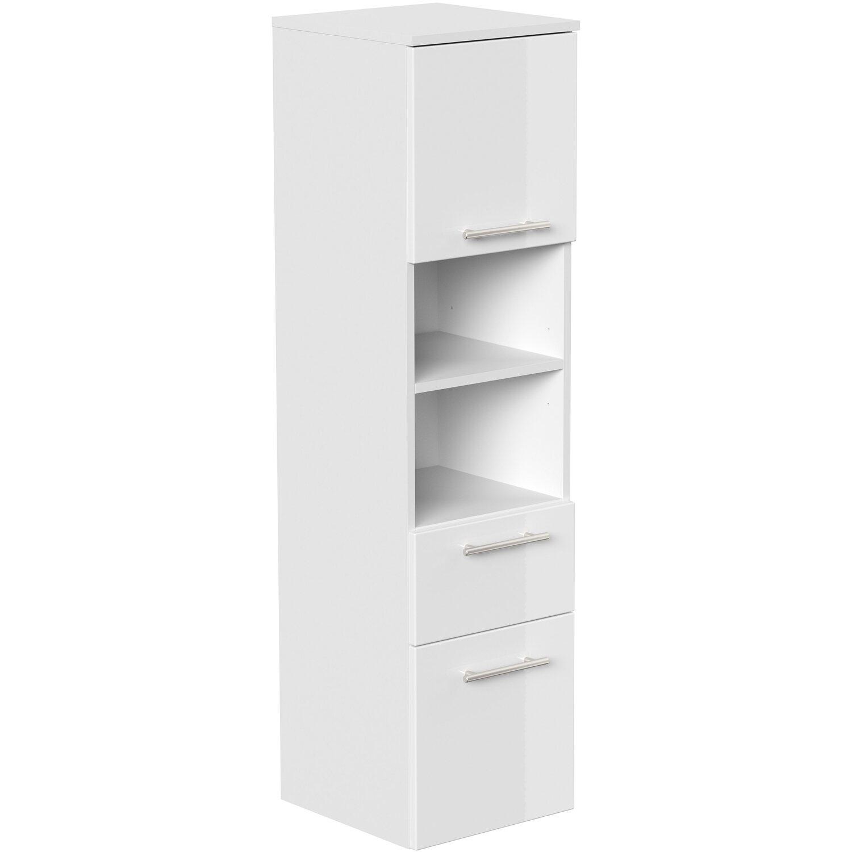 Posseik Hochschrank Viva 135 cm Weiß matt mit Fronten in Weiß Hochglanz günstig online kaufen