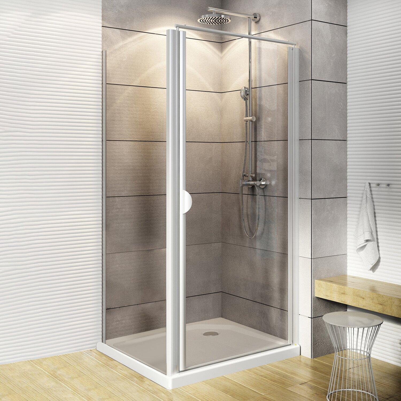 Schulte Drehtür und Seitenwand Logo Echtglas Weiß 80 cm x 80 cm x 180 cm günstig online kaufen