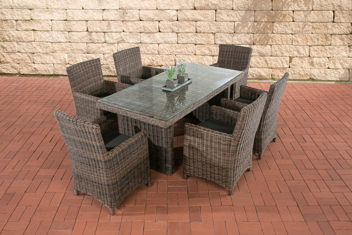Sitzgruppe Fontana-rund/braunmeliert-Anthrazit günstig online kaufen