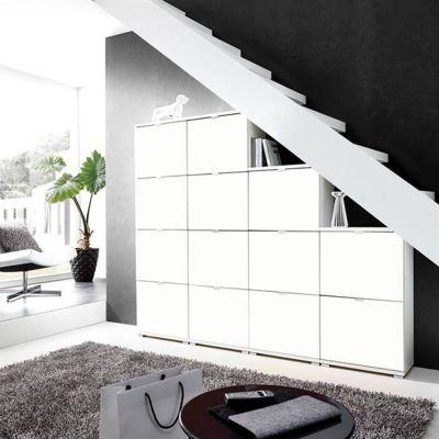 XL Schuhschrank DETROIT-01 in matt weiß, 52 Paar Schuhe, B x H x T ca. 212 günstig online kaufen