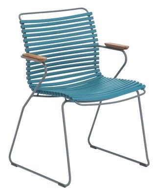 Click Sessel / Kunststoff & Armlehnen Bambus - Houe - Blau günstig online kaufen