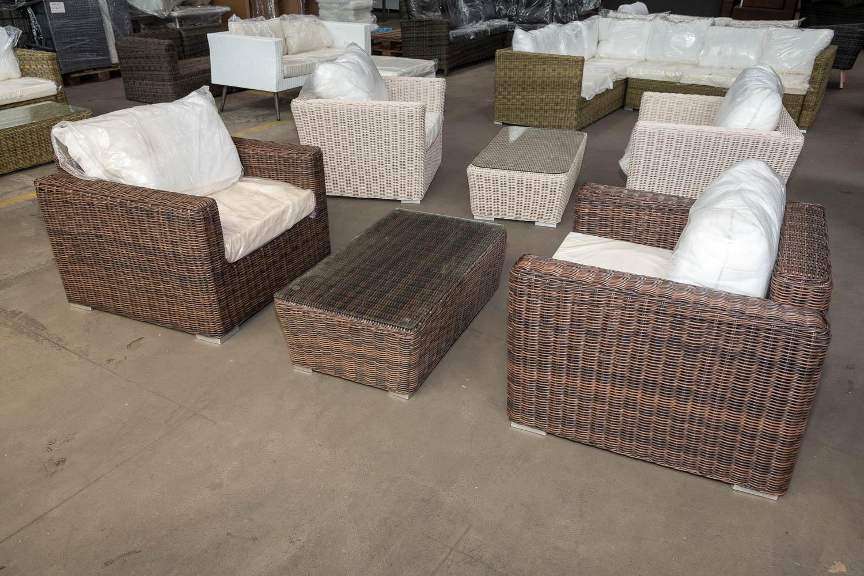 #HBM 2779: 2 x Sessel Madeira + Tisch Mandal-braun-meliert günstig online kaufen