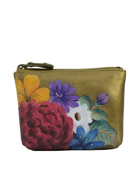 ANUSCHKA Mini Geldbörse »Dreamy Floral (handbemaltes Leder)«, mit Reißversc günstig online kaufen