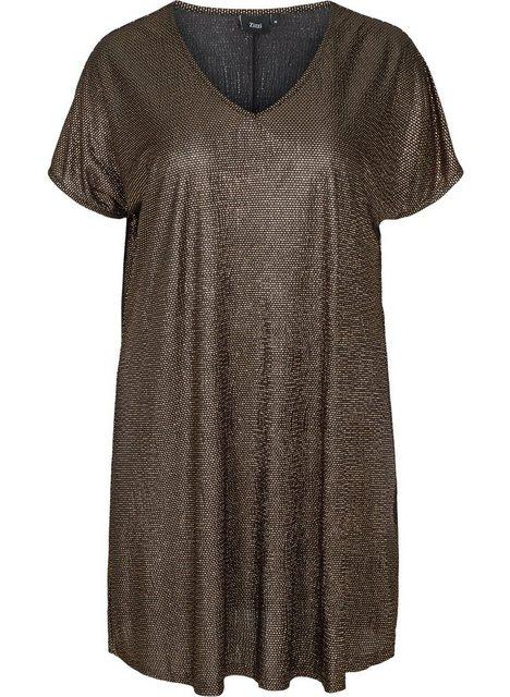 Zizzi Partykleid Große Größen Damen Kurzarm Schimmerkleid mit V-Ausschnitt günstig online kaufen