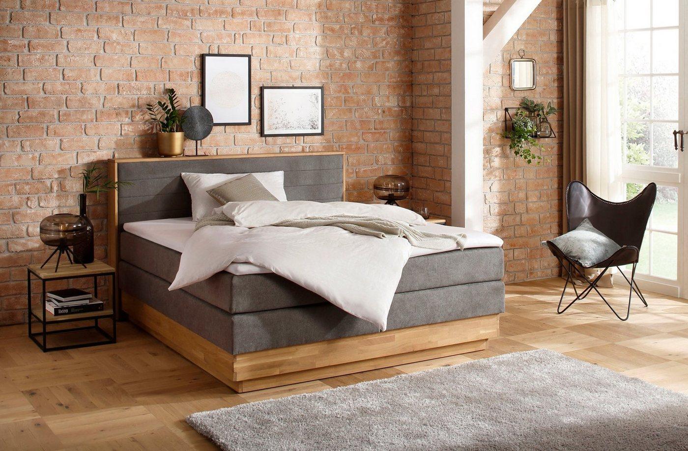 Home affaire Boxspringbett »Cavan«, aus massiver Eiche, inkl. Bettkasten & günstig online kaufen