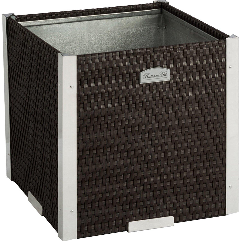 Wilk Polyrattan-Pflanzgefäß 38 cm x 38 cm Braun mit Alu-Beschlägen günstig online kaufen
