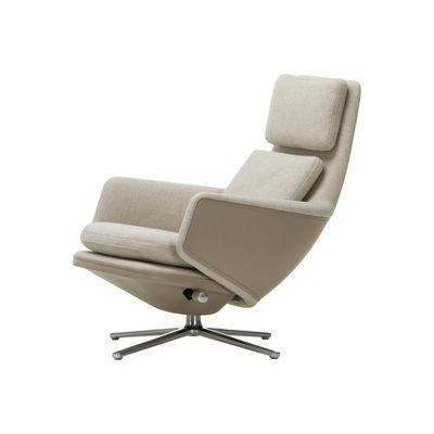 Grand Relax Drehsessel / Dreh- & lehnbar - Leder & Stoff - Vitra - Grau/Bei günstig online kaufen