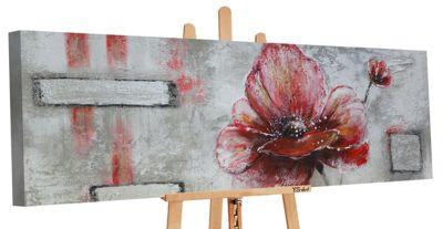 "YS-Art™ ""Gemälde Acryl """"Blüte"""" handgemalt auf Leinwand 150x50 cm"" rot Gr. günstig online kaufen"