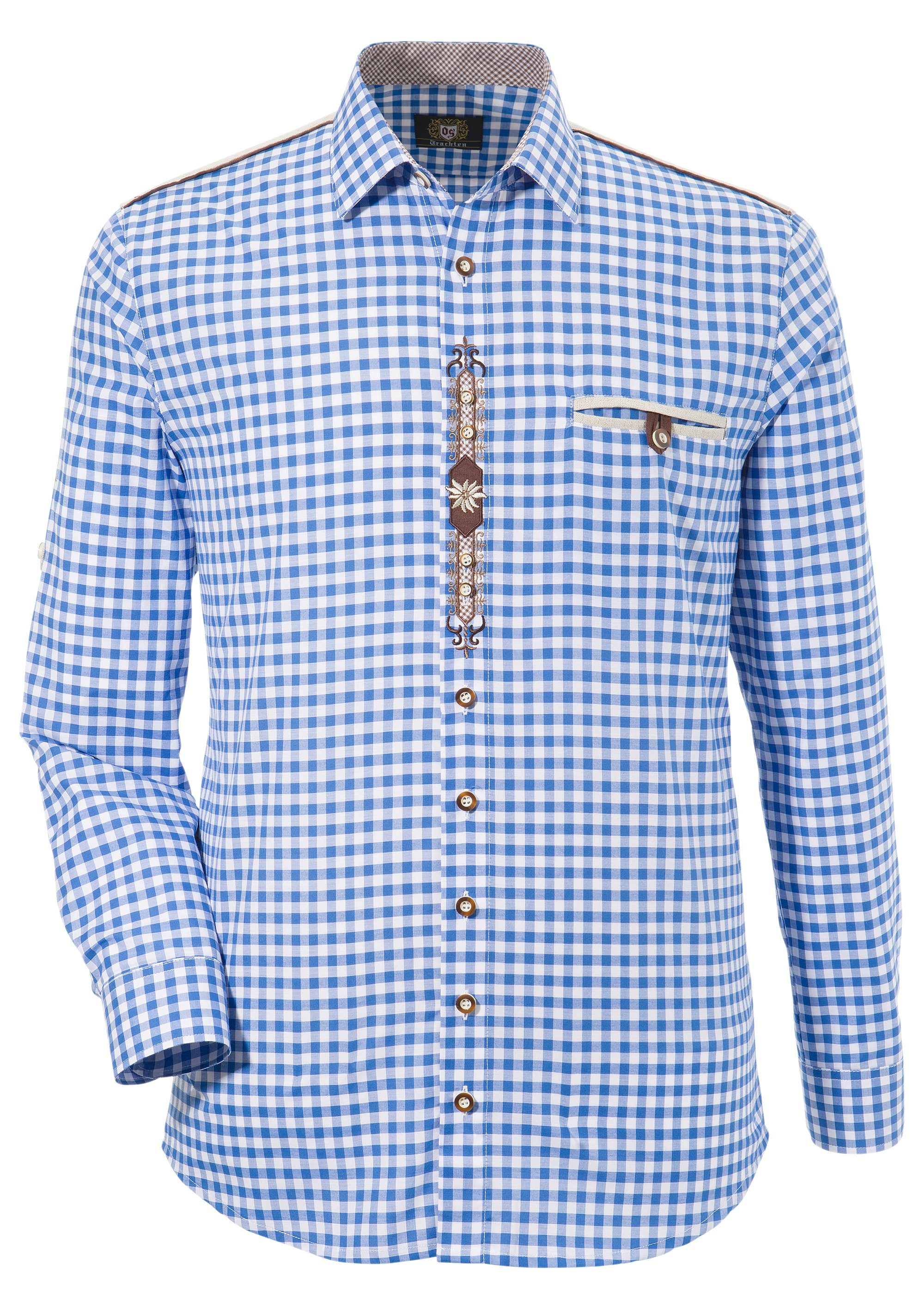 OS-Trachten Trachtenhemd, mit Krämpelärmeln und Stickerei günstig online kaufen