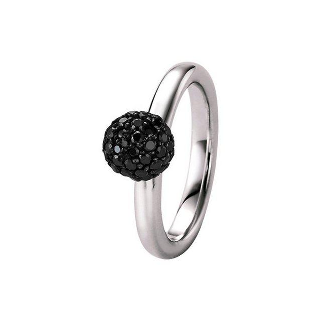 GIORGIO MARTELLO MILANO Silberring mit schwarzen Zirkonia, Fassung geschwär günstig online kaufen