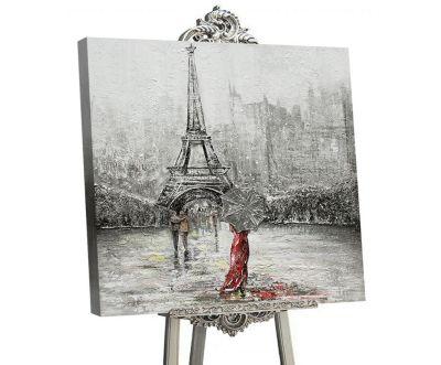"""YS-Art™ """"Gemälde Acryl """"""""Frankreich"""""""" handgemalt auf Leinwand 90x90 cm"""" sil günstig online kaufen"""