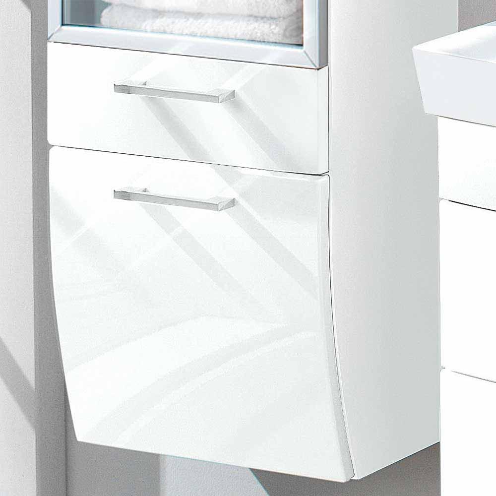 Badezimmer Hochschrank mit Glastür Weiß Hochglanz günstig online kaufen
