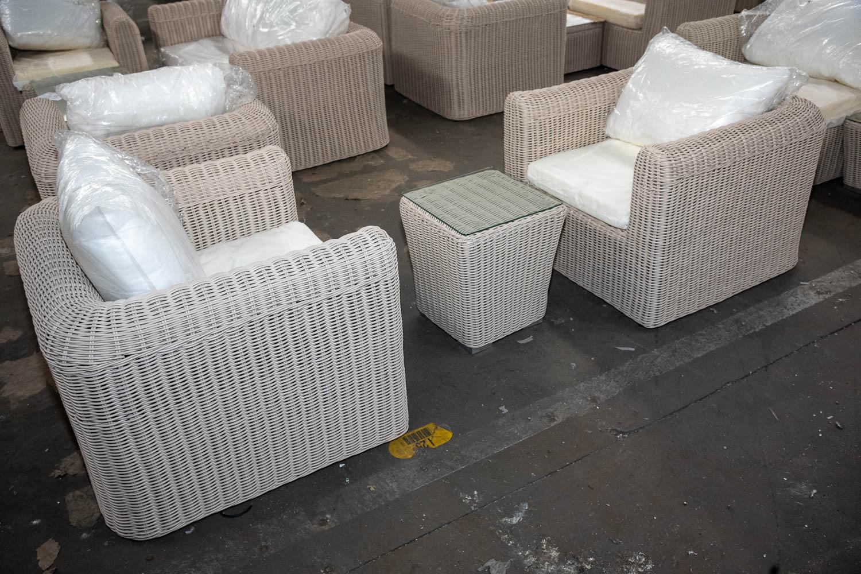 #HBM 2926: 2x Sessel Marbella + Beistelltisch Mandal (neu) 5mm-perlweiß günstig online kaufen