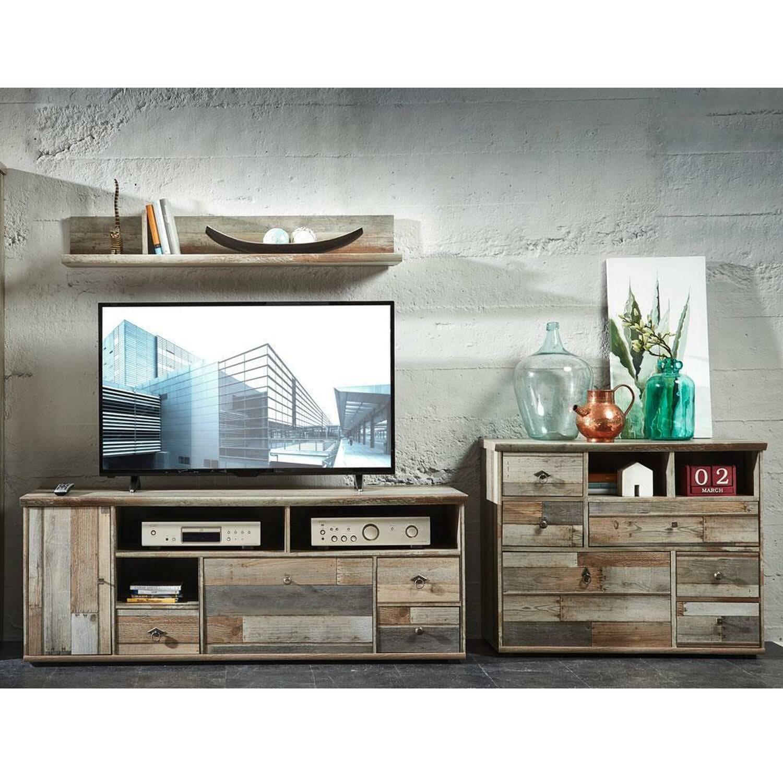 TV-Wohnwand 3-teilig BRANSON-36 Vintage Driftwood B/H/T ca. 285/175/52 cm günstig online kaufen