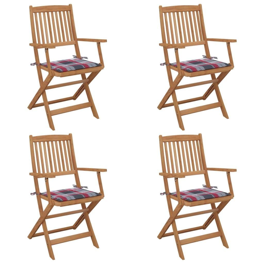 Klappbare Gartenstühle 4 Stk. Mit Kissen Massivholz Akazie günstig online kaufen