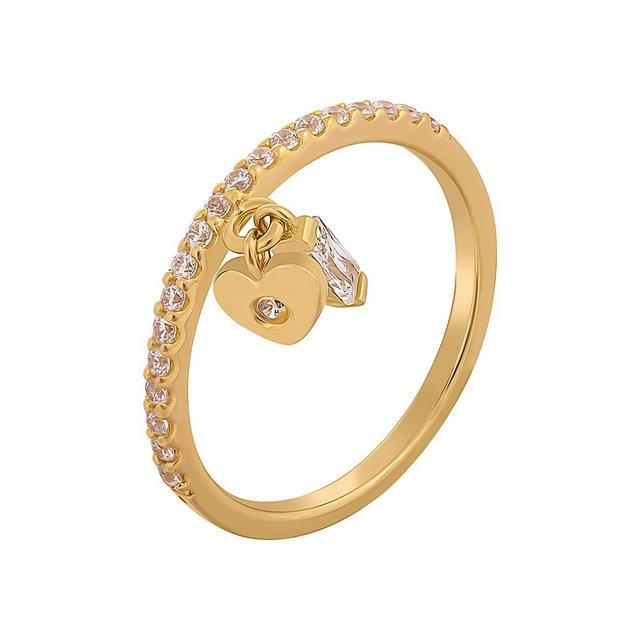 CAÏ Silberring »925 Silber vergoldet mit Anhägern Herz Zirkonia«, der zweit günstig online kaufen