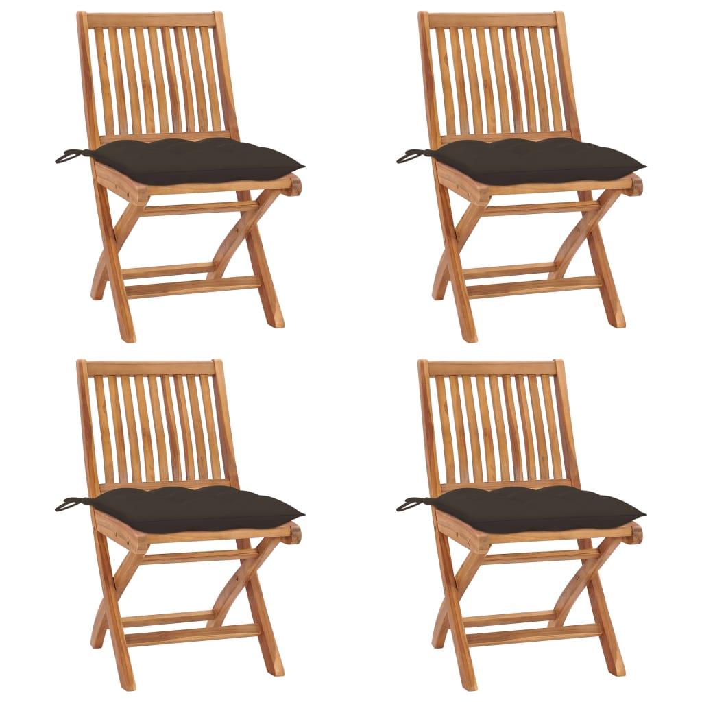 Klappbare Gartenstühle Mit Kissen 4 Stk. Massivholz Teak günstig online kaufen
