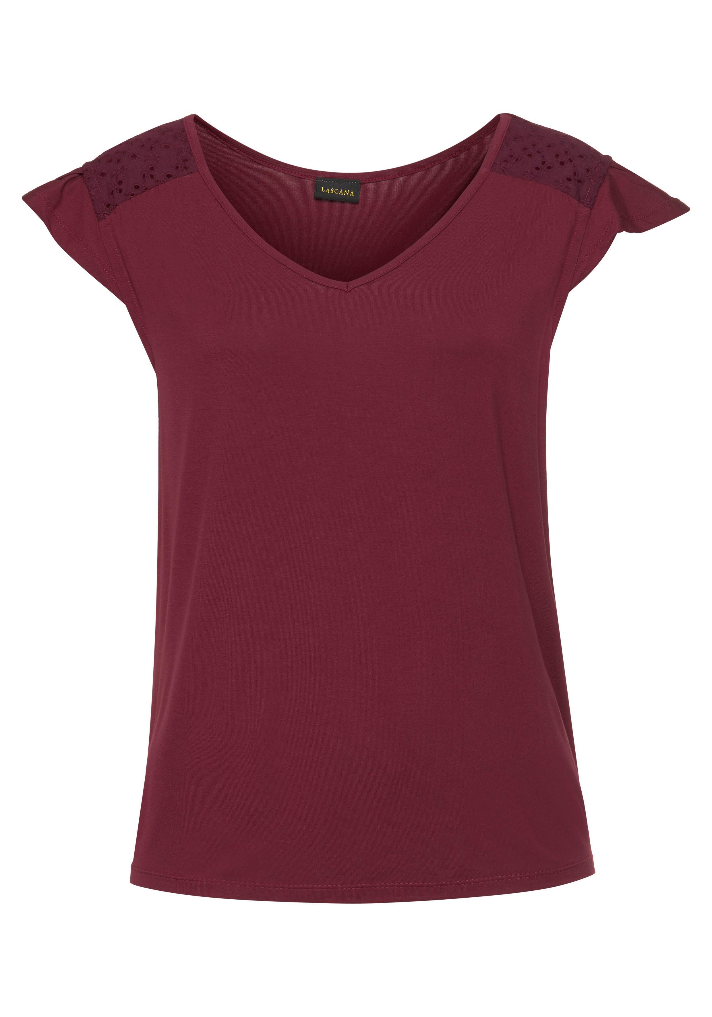 LASCANA V-Shirt, mit Lochstickerei günstig online kaufen