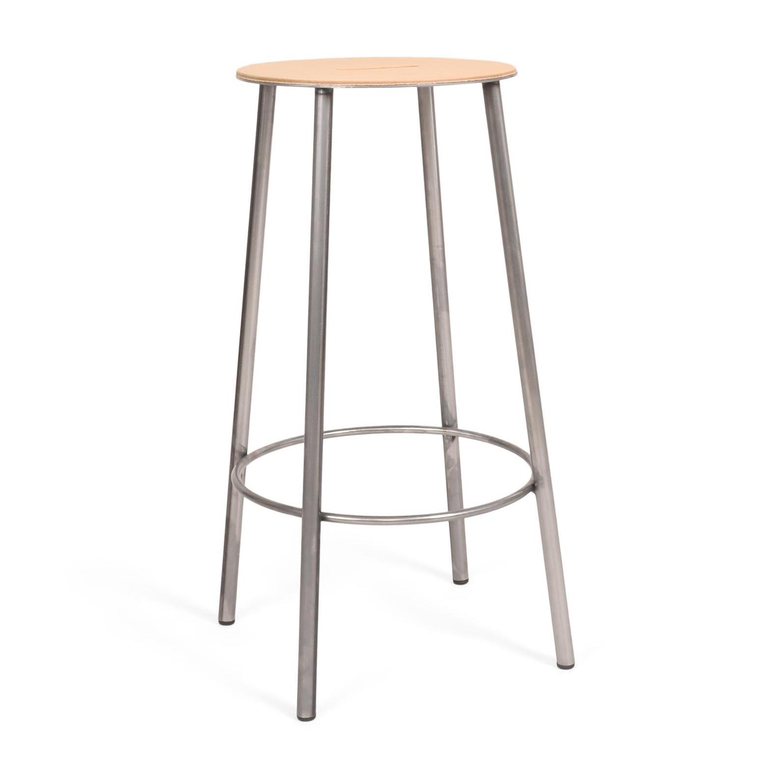 Frama - Adam Hocker H 65cm Leder rund - rohstahl/leder/H 65cm x Ø 31cm günstig online kaufen