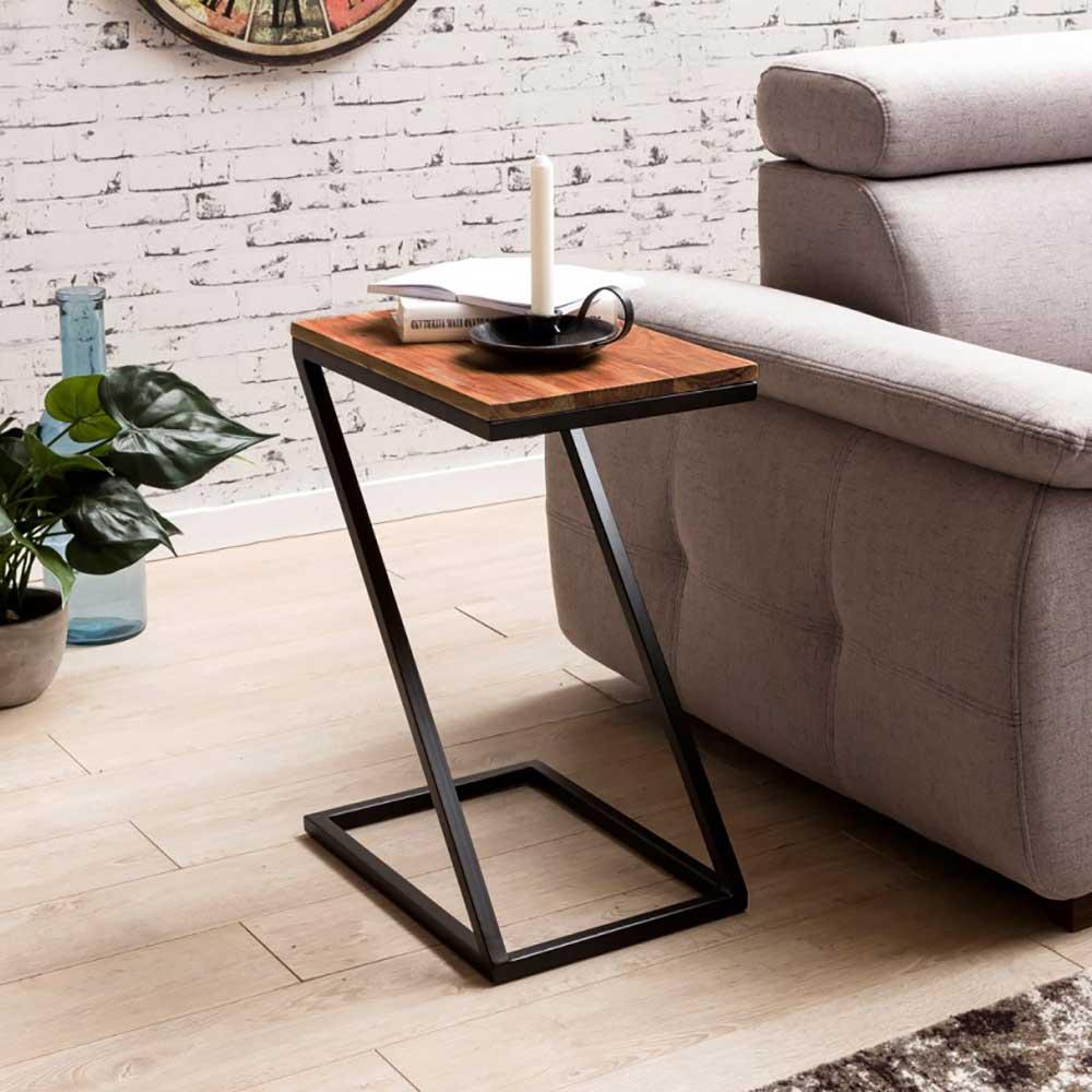 Beistelltisch in Z-Form Sheesham Massivholz und Metall günstig online kaufen