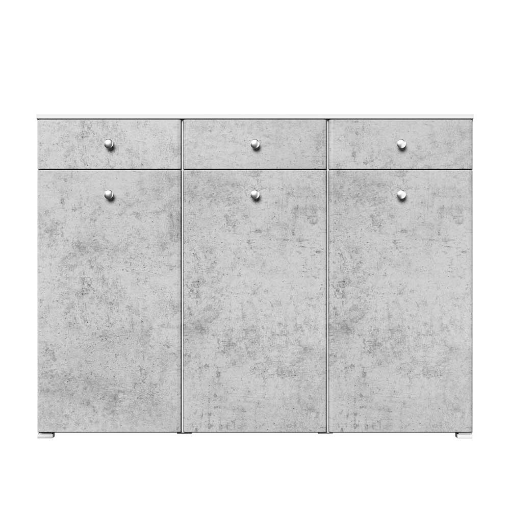 Schuh Hochkommode 3 Türen 3 Schubladen Beton Optik und Weiß günstig online kaufen