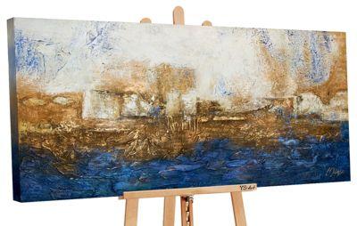 "YS-Art™ ""Gemälde Acryl """"Marine"""" handgemalt auf Leinwand"" blau Gr. 70 x 14 günstig online kaufen"