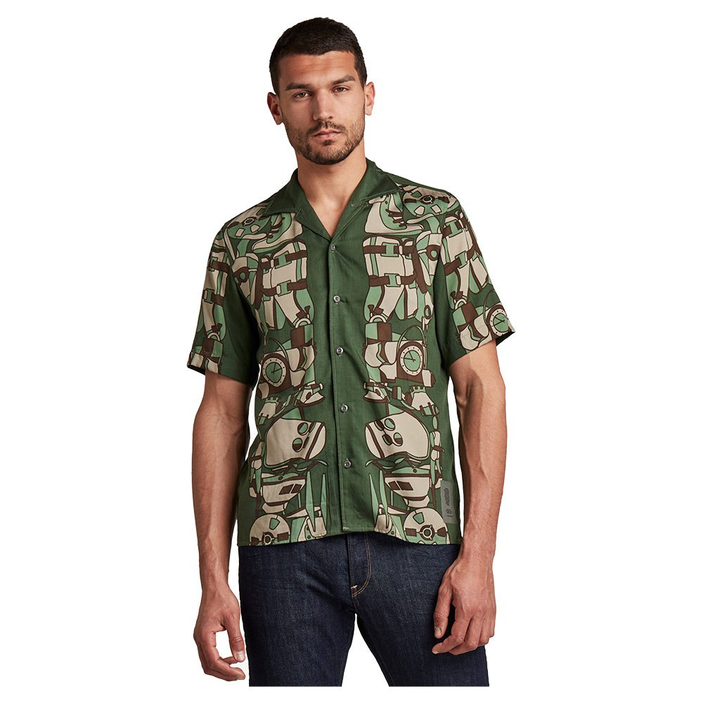 G-star Hawaiian Service Regular Kurzarm Hemd S Hatton Line Art Vert 5L günstig online kaufen