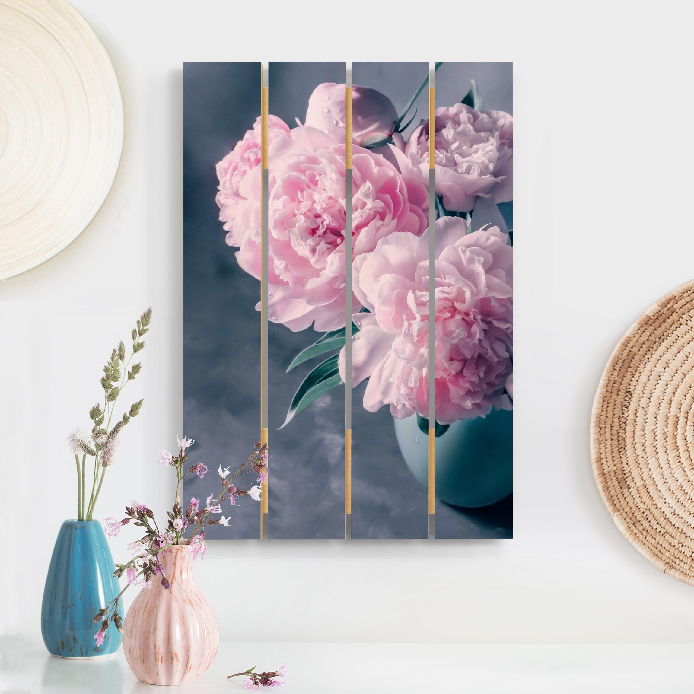 Holzbild Plankenoptik Blumen - Hochformat Vase mit Rosa Pfingstrosen Shabby günstig online kaufen