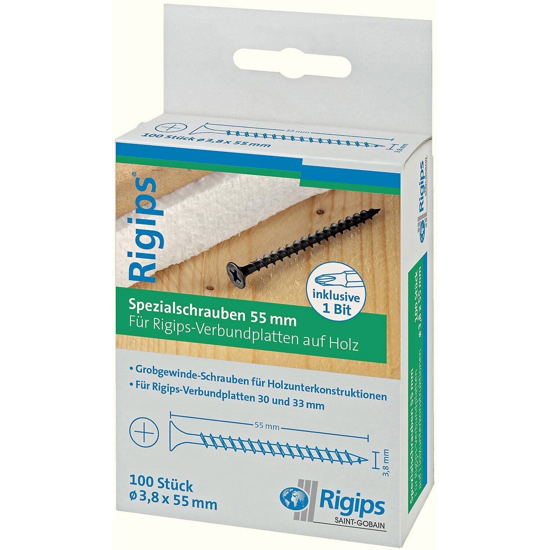 Saint-Gobain Rigips Grobgewindeschrauben für Holz 3,8 mm x 55 mm 100 Stück günstig online kaufen