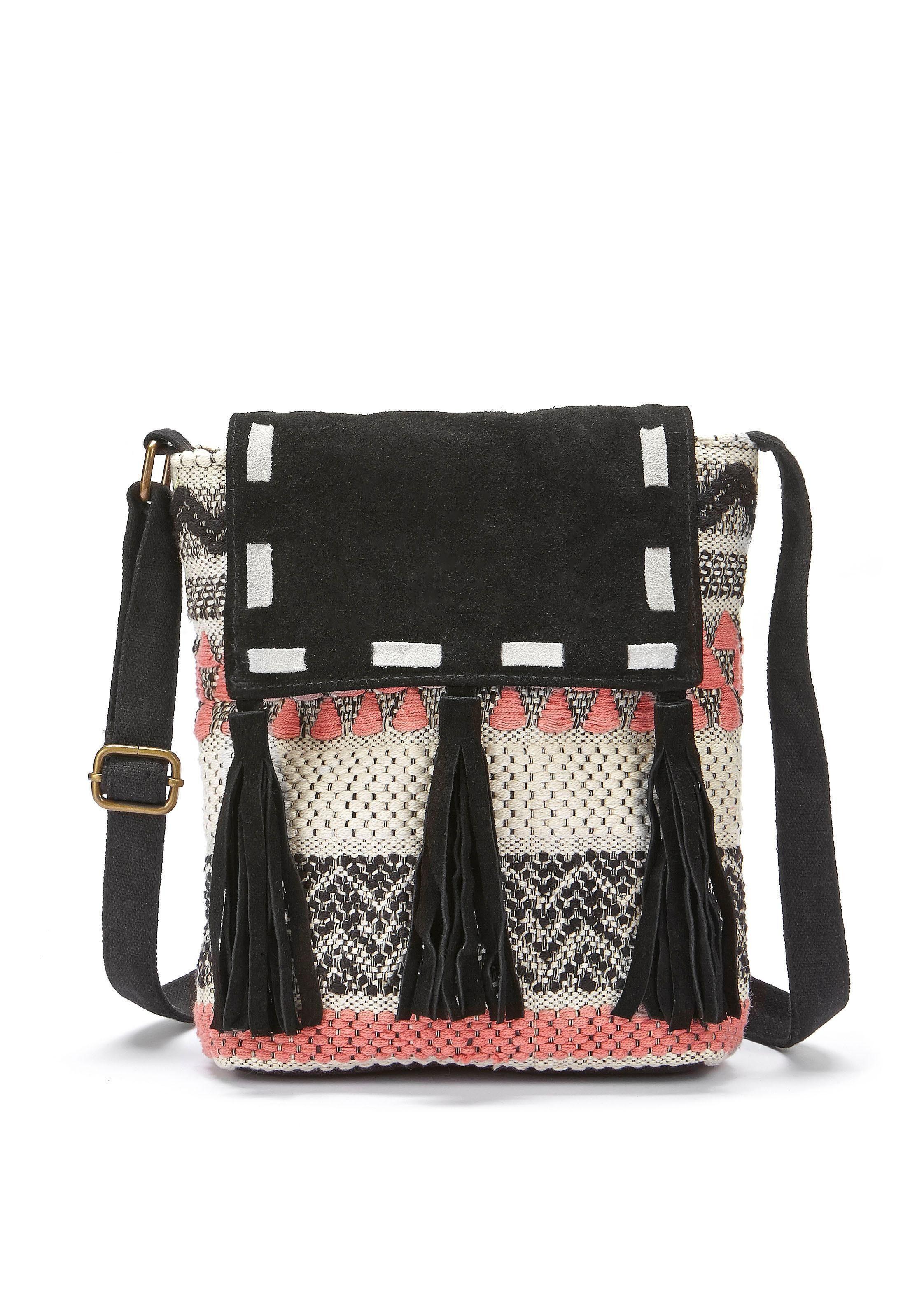 LASCANA Umhängetasche, Strandtasche mit Lederapplikation und im Ethnolook günstig online kaufen