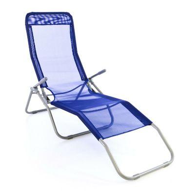 VCM Gartenliege Bäderliege 160 cm Textilene blau Armlehne Stahl Relaxliege günstig online kaufen