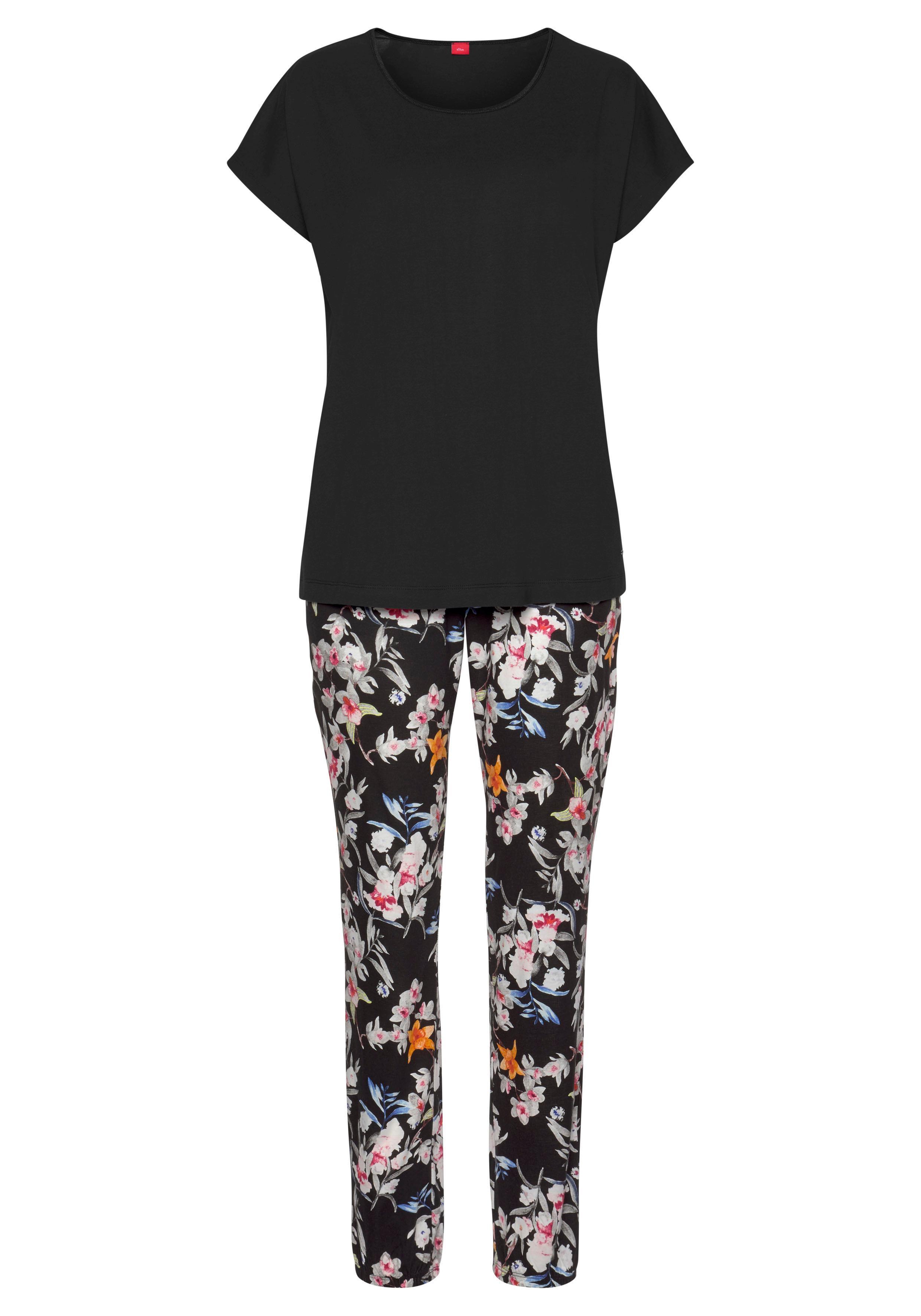 s.Oliver Pyjama mit Blumenmuster günstig online kaufen