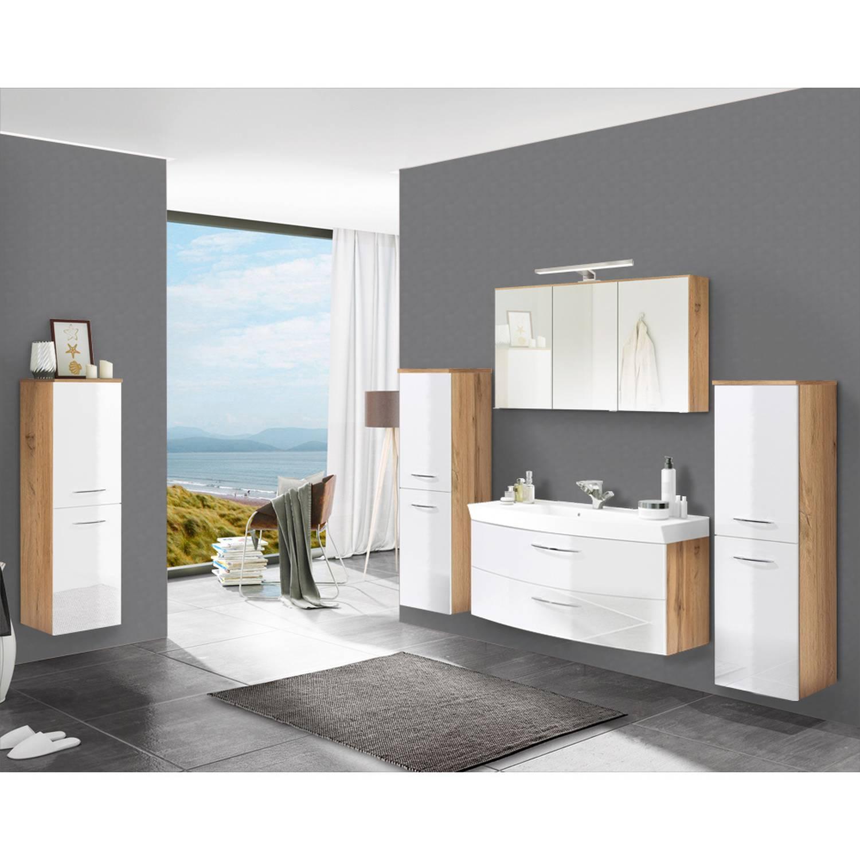 Badmöbel Set Hochglanz weiß mit Wotaneichemit FLORIDO-03-OAK 120cm Waschtis günstig online kaufen