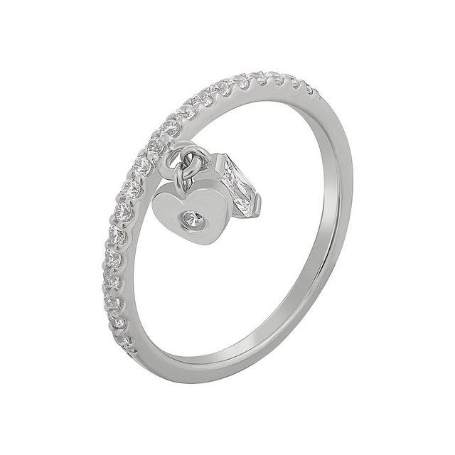 CAÏ Silberring »925 Silber rhodiniert mit Anhägern Herz Zirkonia«, mit zwei günstig online kaufen