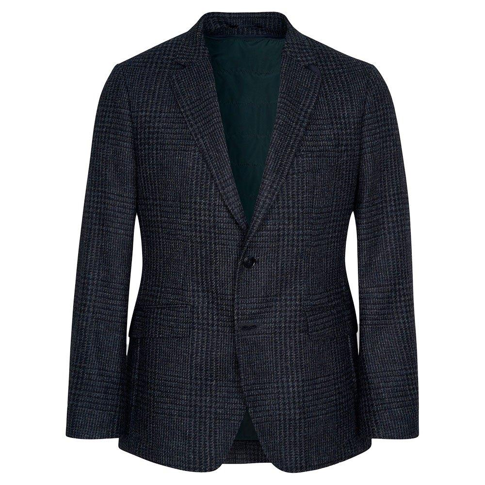 Hackett Shetland Gcheck Zip Out Blazer 40 Navy / Grey günstig online kaufen