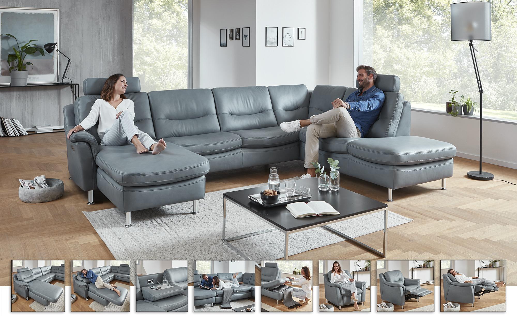 Hukla Wohnlandschaft  Harmony - grau - Polstermöbel > Sofas > Ledersofas - günstig online kaufen