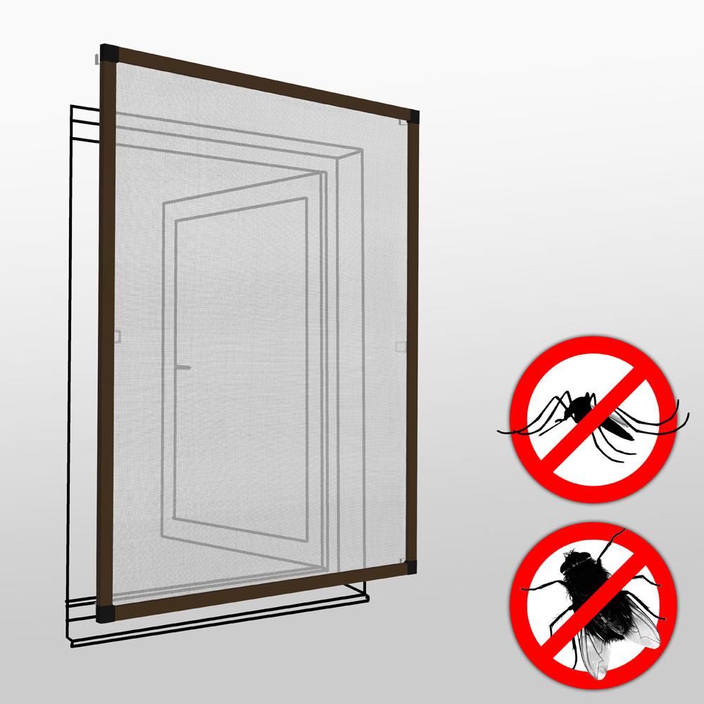 Fliegengitter für Fensterrahmen - braun, 130 x 150 cm günstig online kaufen